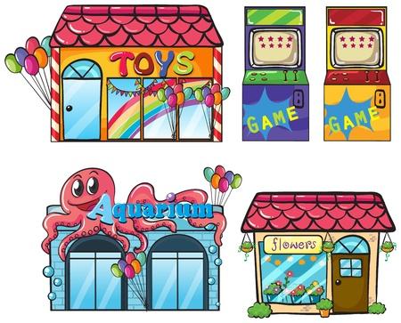 fish store: Ilustraci�n de un diferentes tiendas en un fondo blanco