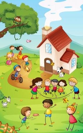 bambini che suonano: Illustrazione di un parco giochi con tanti bambini