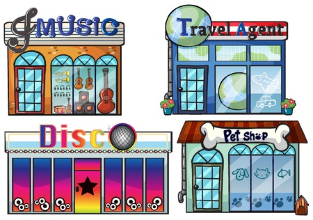shop window: Illustration of a musical store, travel agent office, disco house and a pet shop on a white background