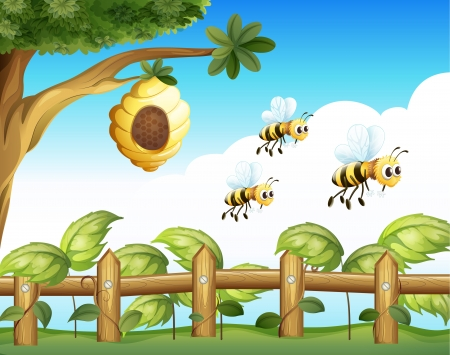Illustration of the three bees that left their home Vector