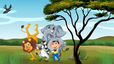 Illustration of a group of animals near a tree Vector