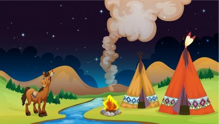 overnight: Illustrazione di un campo durante la notte nei pressi del fiume