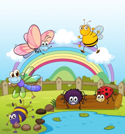 cartoon insect: Illustration of colorful insects and rainbow