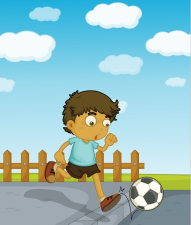 Illustration of a young boy playing soccer along the road