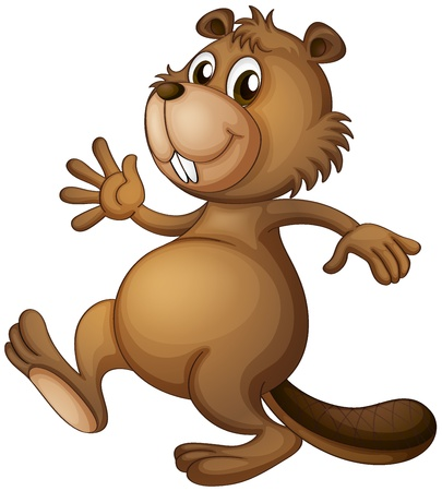 funny image: Illustration of a dancing beaver on a white background