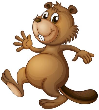 castor: Ilustración de un castor bailando sobre un fondo blanco