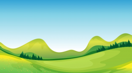 cartoon land: Illustration of mother nature showing the blue sky and the green land resources