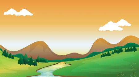 mountain view: Illustration of a mountain view with a colorful background Illustration