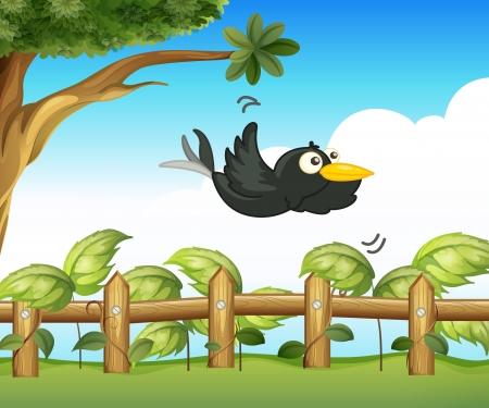 cuervo: Ilustración de un pájaro en el jardín