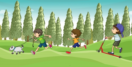 Illustration of children running with a dog  Vector