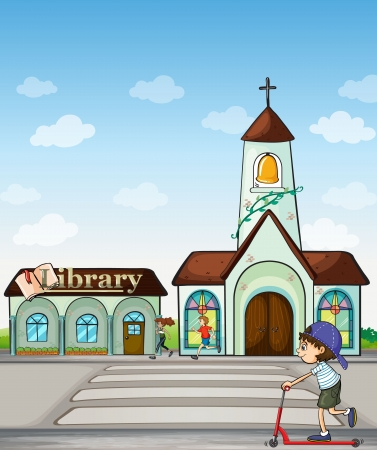 Illustration of joggers and kid on a scooter beside a church and library Vector