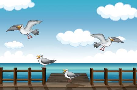 craving: Ilustraci�n de una bandada de p�jaros en busca de alimentos en el mar