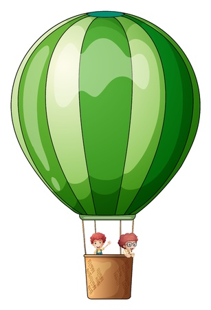 Illustration of an air balloon flying with two kids on a white background Vector
