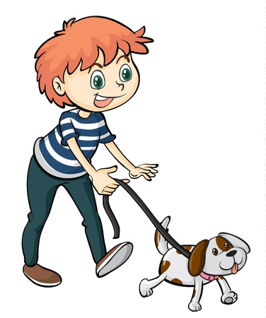full pant: Illustration of a smiling boy and a dog on a white background Illustration