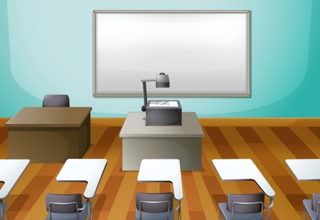 empty chair: Illustration of an empty classroom with a projector