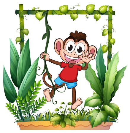 Illustration of a monkey waving his hand in the garden on a white background Vector