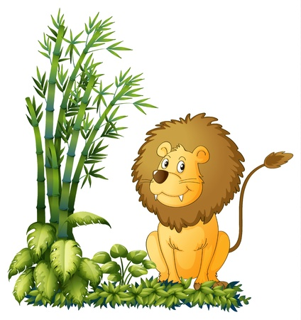 Illustration of a lion showing his sharp jaw on a white background Vector