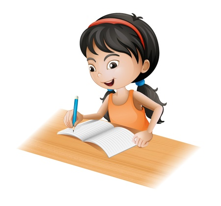 writers: Illustration of a young girl writing on a white background