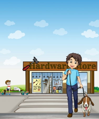 pet store: Illustration of a boy crossing the street with a dog