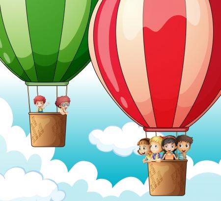 Ilustración de dos globos de aire caliente volando con niños felices