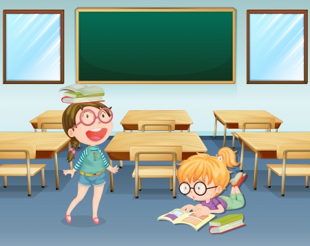 school girl uniform: Illustration of two students inside the classroom Illustration