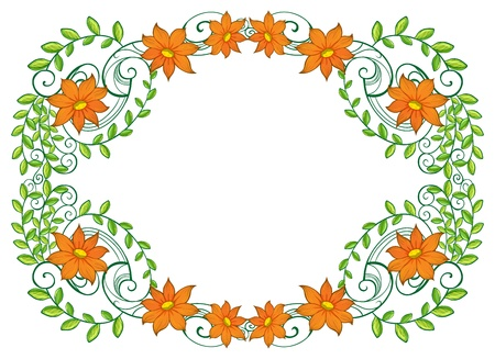 Illustration of a vine plant with flower border on a white background
