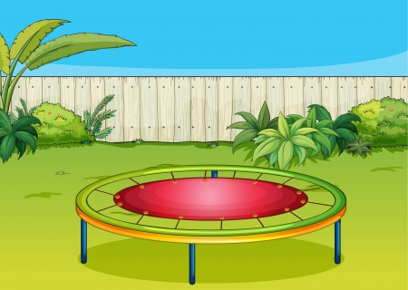 Illustration of a trampoline playing equipment in a beautiful nature Stock Vector - 17358191