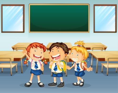 zapatos escolares: Ilustración de estudiantes felices en el aula