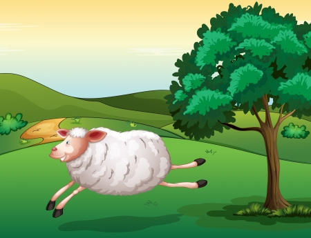 Illustration of a sheep in a beautiful nature Stock Vector - 17358224