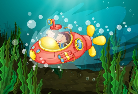Illustration of little girls exploring underwater Vector