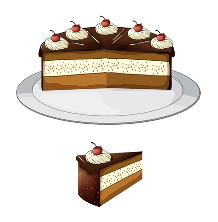 small plate: Illustration of a chocolate cake with cherry on a white background