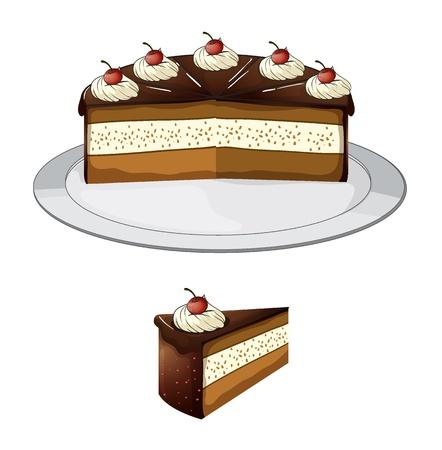 grande e piccolo: Illustrazione di una torta al cioccolato con ciliegia su uno sfondo bianco