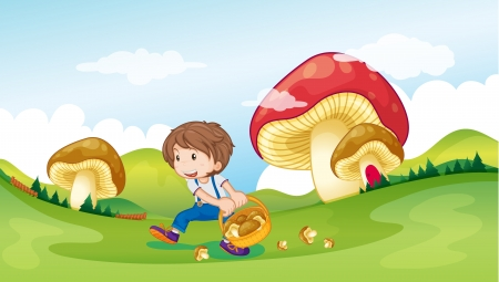 Illustration of a kid with a basket full of mushrooms Vector