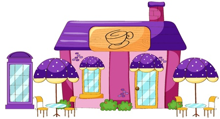 shop show window: illustration of a coffee house on a white background