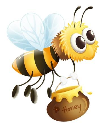 mosca caricatura: Ilustración de una abeja que lleva una miel en un fondo blanco