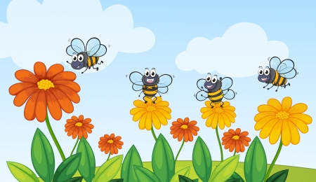 Illustration of a flying bees in beautiful nature Vector