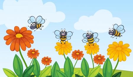 mosca caricatura: Ilustración de una abeja volando en la hermosa naturaleza