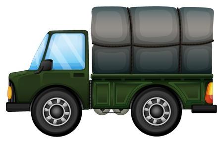 camioneta pick up: Ilustración de un carro que lleva una espuma sobre un fondo blanco