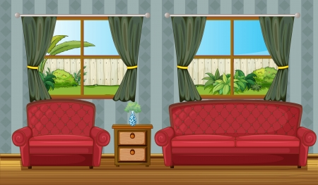 lawn chair: Illustration of a sofaset and side table in a room Illustration