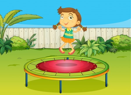 Illustration of a girl playing on trampoline in a beautiful nature