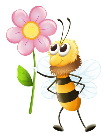 the green: Illustration of a bee holding a flower on a white background