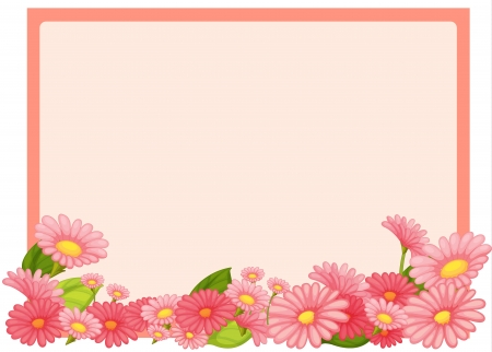 Illustration of flowers and a pink board on a white background Stock Vector - 17358094