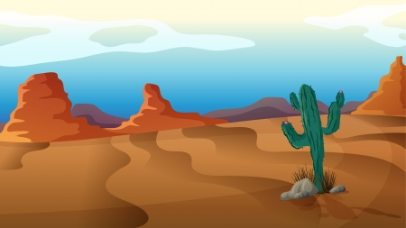 desert landscape: Illustration of a sad cactus in the middle of nowhere