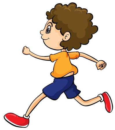 blue shoes: Illustration of a boy running on a white background Illustration