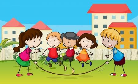 Illustration of kids playing rope in a beautiful nature Stock Vector - 17358188