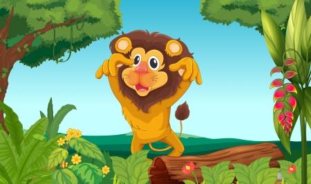 jungle scene: Illustration of a king lion in the woods Illustration