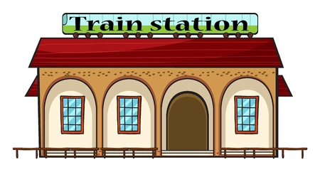 station: Illustration of a train station on a white  background