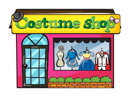 Illustration of a costume shop on a white background Vector