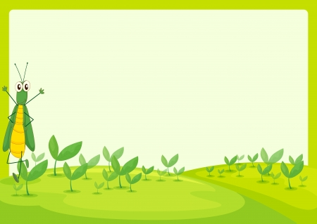 Illustration of a grasshopper in a beautiful nature Vector