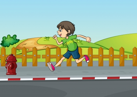 Illustration of a boy running in a beautiful nature Stock Vector - 17358113